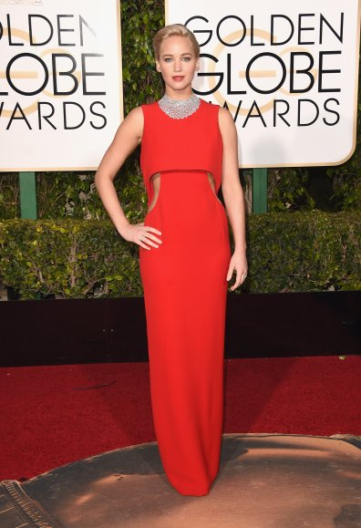 Jennifer Lawrence in Dior Lawrence not only won Best Actress in a Comedy, but she also won the number one spot on many best dressed lists. Lawrence shined in Chopard jewelry and subtle cutouts. Photo provided by Vogue.