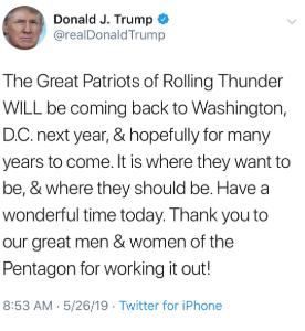 DT Tweet Rolling Thunder